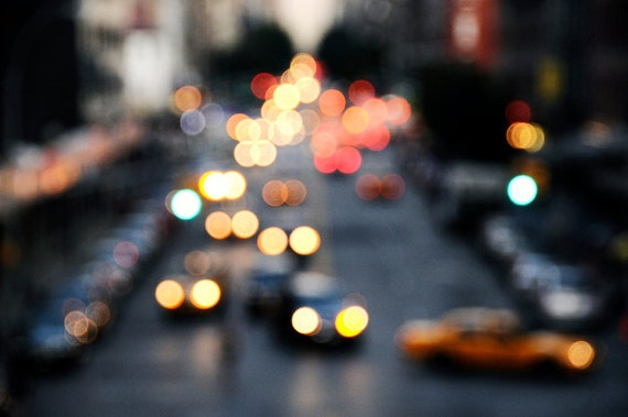 Downtown City Lights - New York City Street Abstract 8x12 Photograph