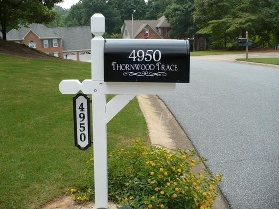 SALE- Custom Mailbox Address Vinyl Decal with Your Choice of Font, Flourish, Text, and Color- Buy 2 Get 1 Free