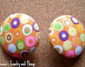 Pink Orange Blend Fabric Button Earrings 1.5""