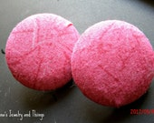 Burst of Pink Fabric Button Earrings