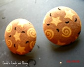 Stars Fabric Button Earrings 1.5""
