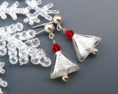 White Venetian Glass and Sterling Silver Snowflake Earrings