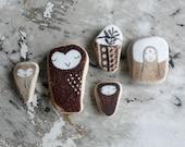Brown Beach Pottery Collection of Five - Jizo, Owls and Ikebana - LillaJizo
