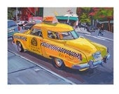 "Fine Art Print  8x10, ""Yellow Studebaker Taco Taxi"" New York City Painting by Gwen Meyerson"