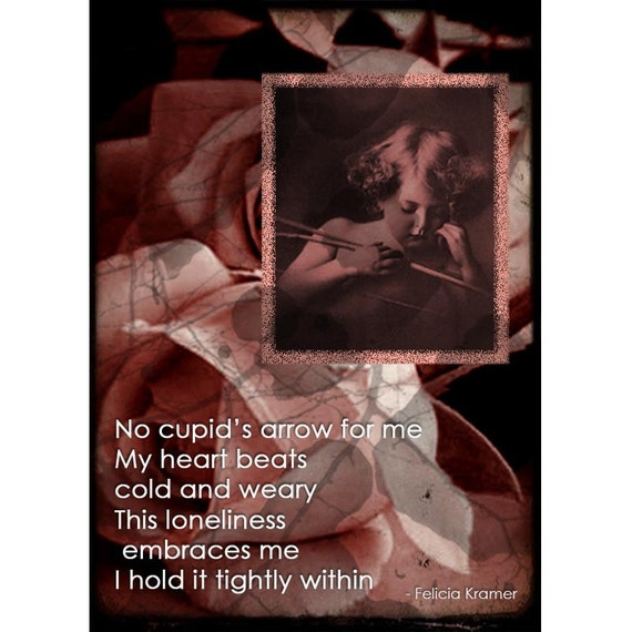 Cupids Arrow Collage Print and ACEO With Poem