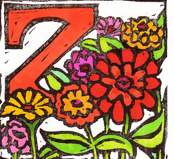 Block Print: Z for Zinnia (matted) from the Farm Alphabet Series