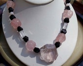 Handmade Morganite Black Tourmaline and rose quartz necklace