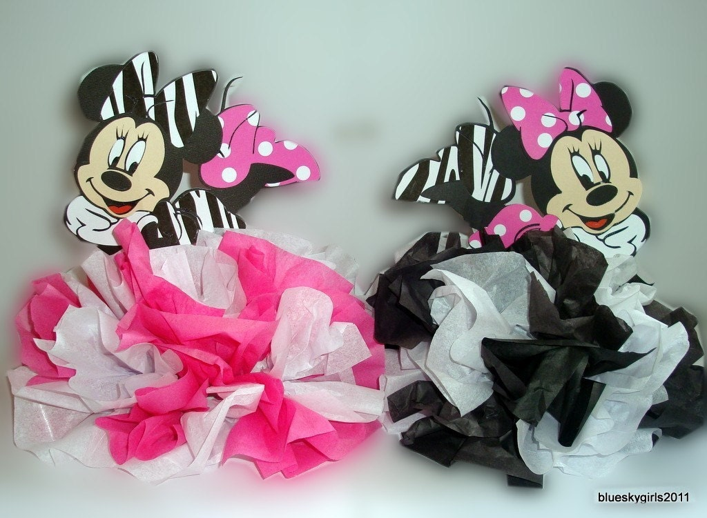 Minnie Mouse Zebra/Polka Dot Table Centerpiece Decoration KIT DIY ...