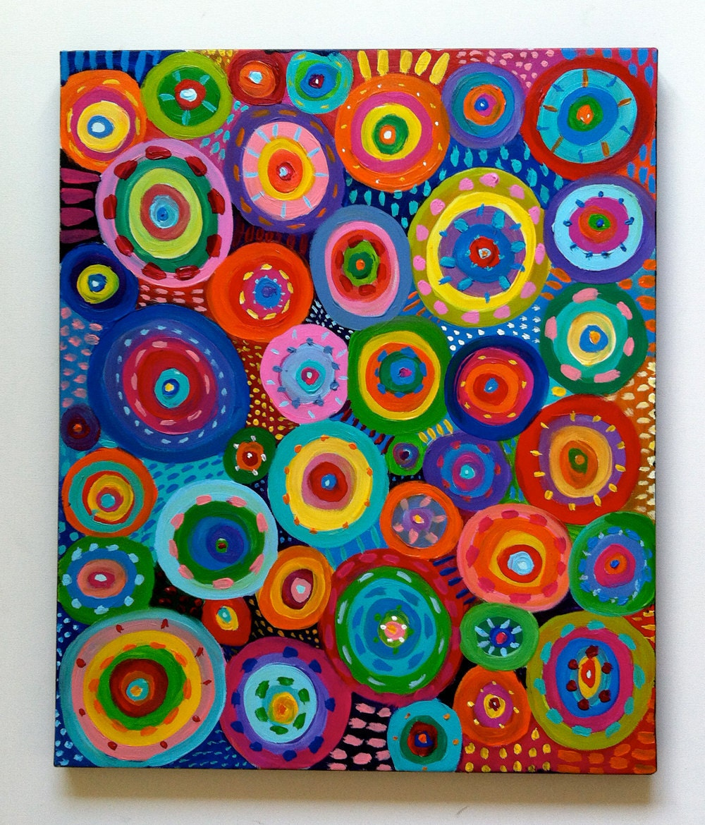 Abstract Painting Circles / Original ACRYLIC ABSTRACT By