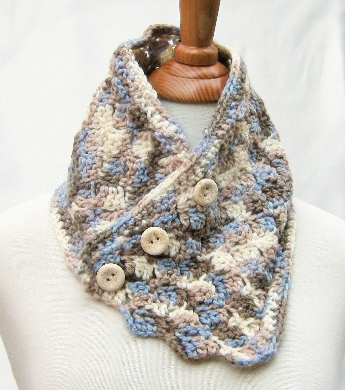 Scarf Cowl Neck Warmer in White Blue Taupe by ExpressiveStitches Cowl Neck Scarves Crochet