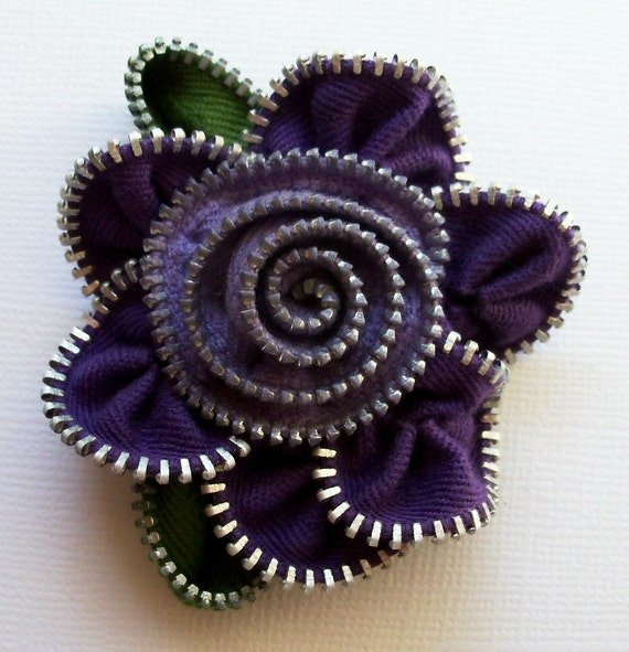 Purple and Lavender Floral Brooch / Zipper Pin by ZipPinning 2175