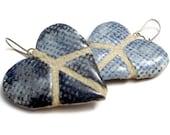 Peace Sign Heart Earrings : Denim Mosaic Tile REVERSIBLE