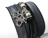 Hand Dyed Silk Wrap Bracelet-Eclipse with Hamsa, Star of David, and Comet Swarovski Crystals - anjalicreations