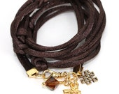 Satin Cord Wrap - Chocolate Brown with Goldtone Pewter Om, Eternal Knot, and Smoked Topaz Swarovski Crystal - anjalicreations
