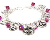 Silver Charm Bracelet with Array of Peace Symbols and Fuchsia Pink Swarovski Crystals - anjalicreations