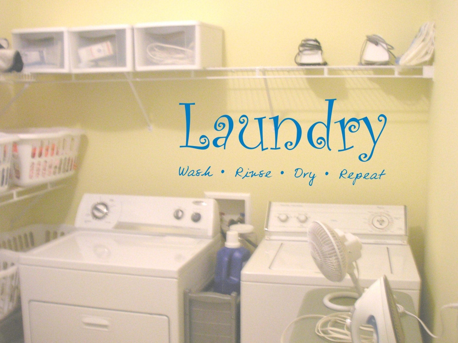 Laundry Room Wall Decal Sticker Wash Fold Rinse by DabbleDown