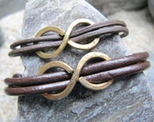Infinity for Two - Two Brown Leather Sliding Knot Adjustable Gold Infinity Bracelets (FREE SHIPPING) - NearTheWillows
