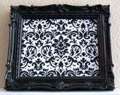 Baroque Ornate Vintage Frame-Photo Frame-Picture Frame-8x10 & 5x7 in ONE-Black Gloss-Hot Pink- Black and White Damask-Magnetic Memo Board - shabbymcfabby