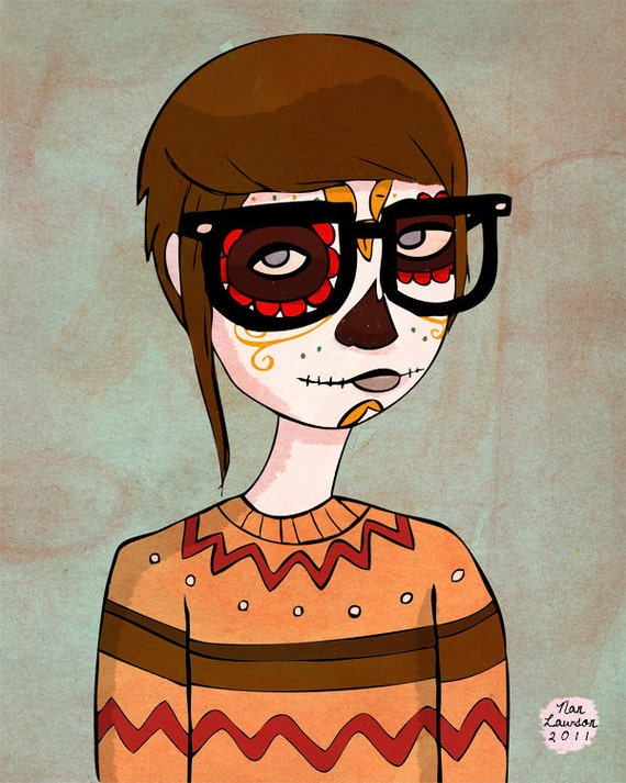 Day Of The Dead Hipster - 5 x 7 Illustration Print