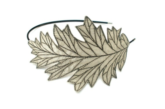 Oak Leaf Headband- Beautifully Unique Embroidered Silk Fabric Leaf Headband- Silver with Grey Embroidery