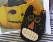 Autumn Cat Pillow Halloween Primitive Wool - Northernlodge