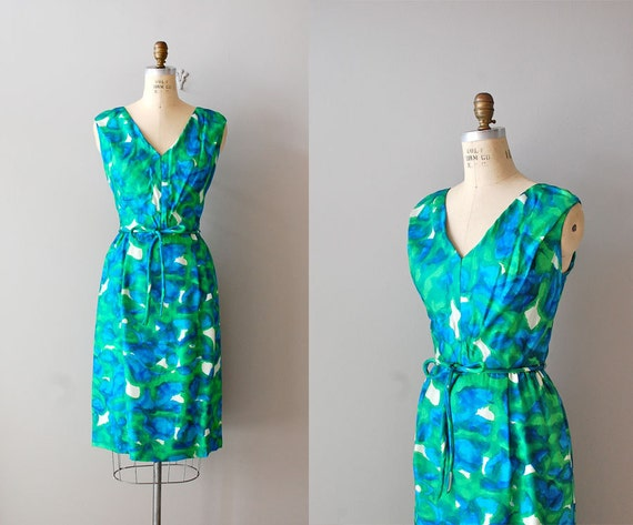 1960s dress / 60s dress floral print dress / Oceans 11 silk dress