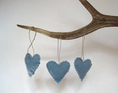 christmas tree ornaments heart felts set of 3 / whisper blue eco friendly upcycled wool love (Ready to Ship)