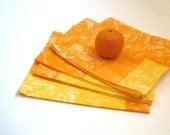 table napkins Marimekko set of 4 / kitchen food home decor in orange gold (hostess gift idea) - SewnNatural
