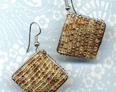Statement Earrings in Seed Beads in Brown SALE - Annaart72