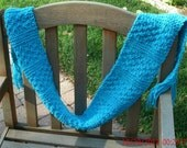 Hand Knit Scarf - The Textile Scarf  in blue - Knitted Scarf - Unisex scarf - Fall, Winter accessories