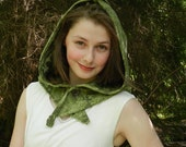 Pixie Hood in Green Leaf Brocade - Crystalsidyll