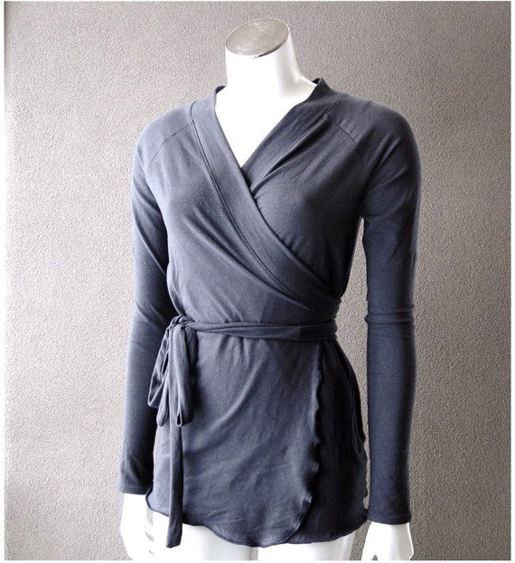 Wrap shirt with shawl collar - custom made organic womens clothing