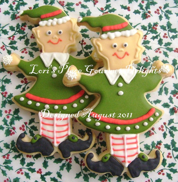 Christmas Elf Cookies - Christmas Cookies - Elf Cookies - 6 Cookies