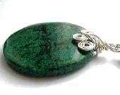 Green Chrysocolla Pendant, Wire Wrapped Gemstone, Sterling Silver. WAVES
