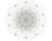 Alium -  mandala design abstract art unique mandala black and white form unique art print abstract print mandala meditation star form flower - SarahGiannobile