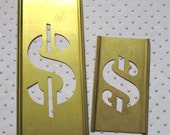 Pair of vintage brass stencils - Dollar signs