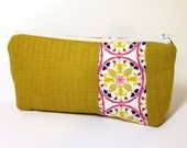 Medium Zipper Pouch - Gold with Accent Stripe - handjstarcreations
