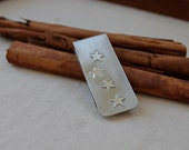 Money Clip. Nickel and Sterling Silver. customize with initials. Masculine. Stars Design. Mens Gift. Dad. groomsmen. star - KittyStoykovich