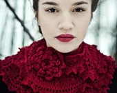 lace knitted scarf cherry red - Wollarium