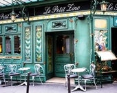 Paris Cafe in Green- 8x10 Fine Art Photograph - European Photo - Affordable Decor - Restaurant Paris - rebeccaplotnick