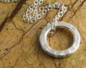 SALE Hammered Silver Circle Necklace Hill Tribe Silver Sterling Silver Cable Chain - newhopebeading
