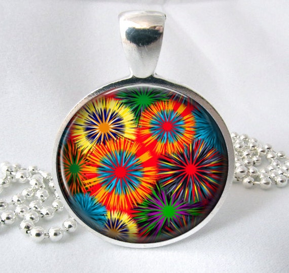 Flower Burst Resin Pendant Art Pendant Necklace Resin Jewelry Pendant Photo Pendant Glass Pendant (286)