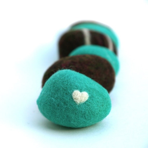 Teal and Chocolate Felted Stones - Set of 6.