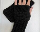 Crocheted Fingerless Gloves / Wrist Warmers - Dark Grey Heather