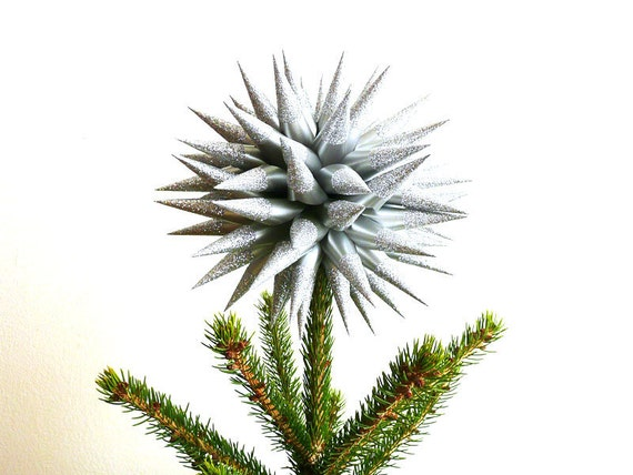 Silver Glittered Christmas Tree Topper Paper Decoration Star Urchin Spiky Decorative Ball - Size Medium (8 inch) - Platinum Sparkler