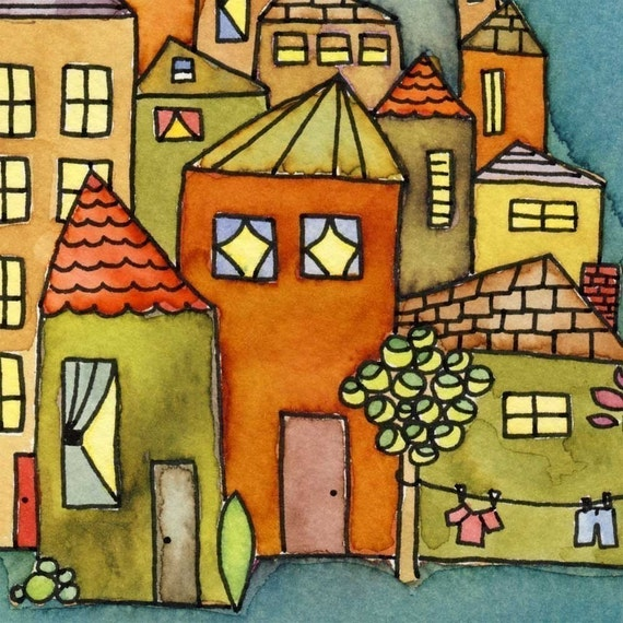 Tiny Village - watercolor print and verse