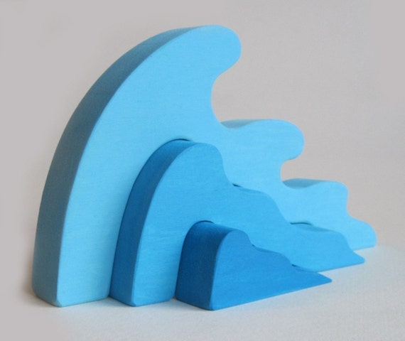 Wooden Wave Stacker- Waldorf Toy- Ocean- Earth Day