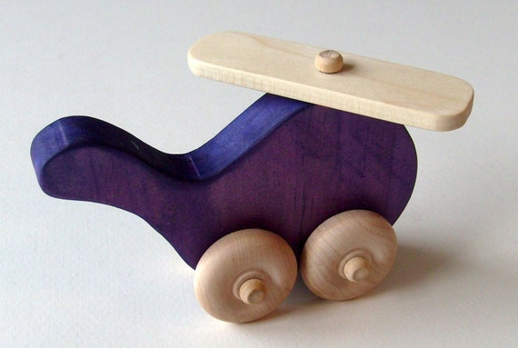 Wooden Helicopter Toy - Waldorf Push Toy- Eco Friendly