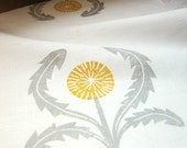 gray and yellow ochre on white dandelion linen napkins set of 4 - giardino