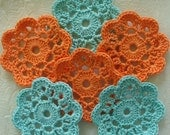 Handmade mini doilies, appliques -  melon & aqua - set of 10 - IreneStitches